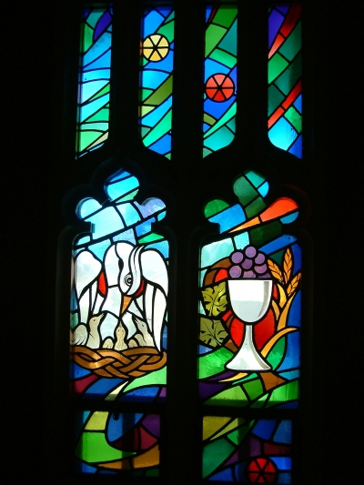 St. Alphonsus Church, Stain glass window by Baptismal Fount.jpg